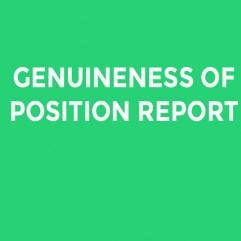 GENUINENESS OF POSITION REPORT